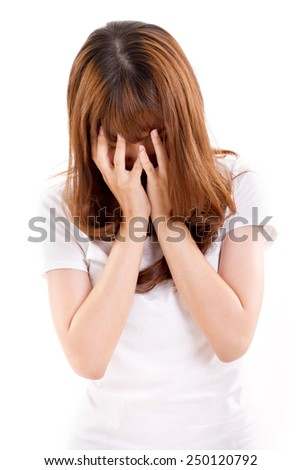 desperated, sad, unhappy, frustrated, hopeless woman doing facepalm action - stock photo