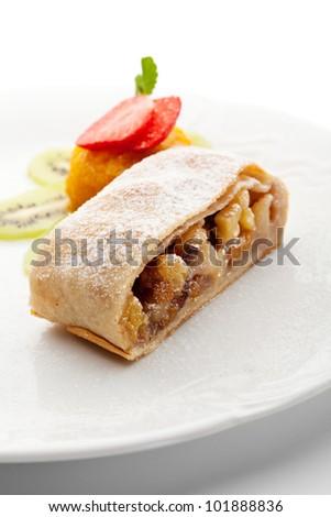 Dessert - Apple Strudel Served with Fruits Ice Cream - stock photo