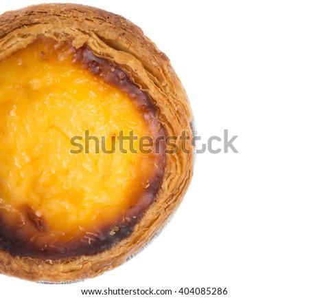dessert egg tart sweet custard pie isolated on white background - stock photo