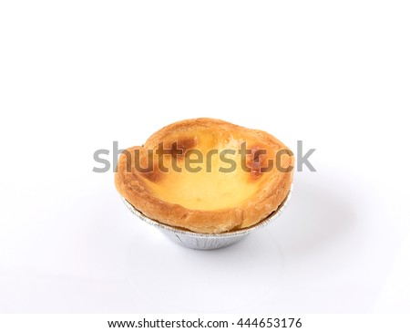 dessert egg tart sweet custard pie isolated on white background - stock photo