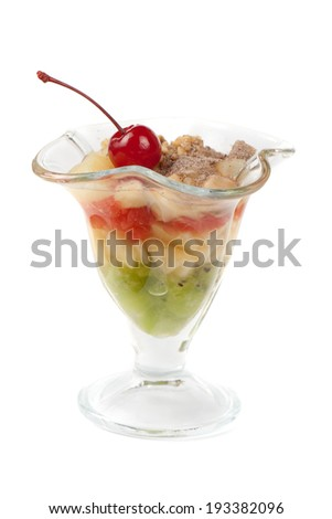 dessert from different fruit and cream - stock photo