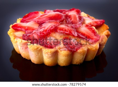 dessert fruit cake with strawberry - stock photo