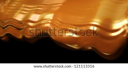 Dessert: Hot chocolate or cocoa flow over black background - stock photo