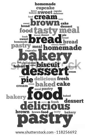 Dessert info-text graphics and arrangement concept on white background (word cloud) - stock photo