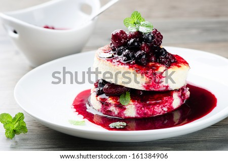dessert with berries - stock photo