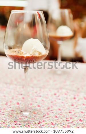 dessert with berries and ice cream - stock photo
