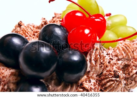 dessert with grapes & cherry