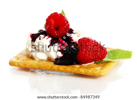 Dessert with raspberry and cottage cheese over white background - stock photo