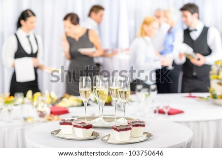 Desserts and Champagne for business meeting conference participants - stock photo