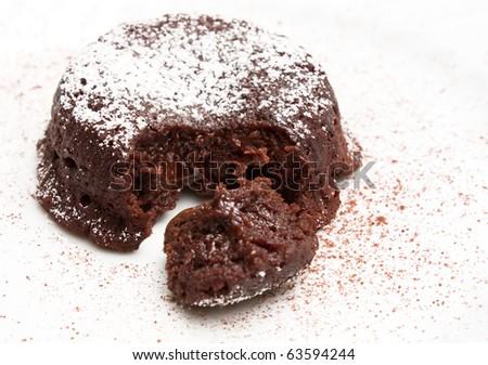 Desserts - Closeup of soft chocolate cake. - stock photo