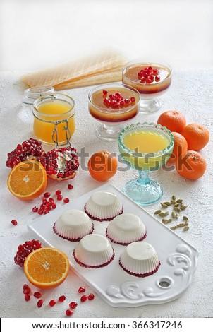 desserts with gelatin - stock photo