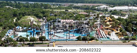 Destin, FL, USA - July 24 2014: Big Kahuna water theme park with slides and attractions in Destin, FL. - stock photo