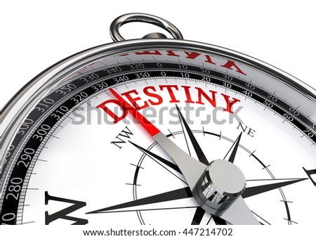 destiny red word on motivation compass, isolated on white background - stock photo