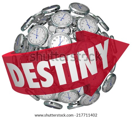 Destiny word on a red arrow around a ball or sphere of clocks to illustrate moving forward in time toward your fate or ultimate fortune - stock photo