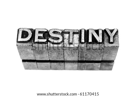 DESTINY written in metallic letters on a white background - stock photo