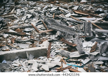 Destroy building, Earthquake effect, collapse building, crumble building - stock photo