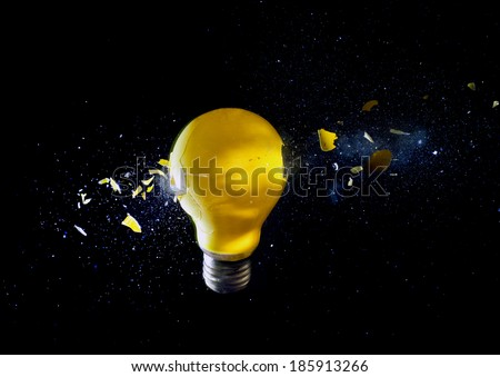 destroy electric bulb high speed photo - stock photo