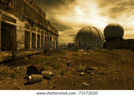 Destroyed buildings in the military town of the Soviet era - stock photo