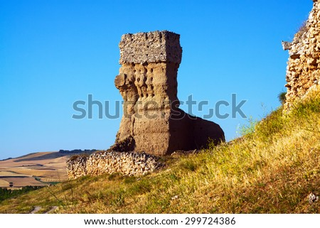 destroyed clay castle of Palenzuela - stock photo
