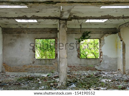 Destroyed house interior - stock photo