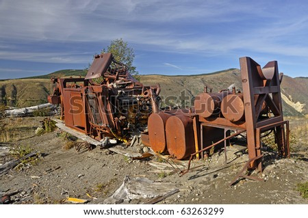 Destroyed logging equipment 30 years after the Mt. St. Helens eruption - stock photo