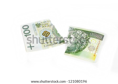 destroyed Polish money - stock photo
