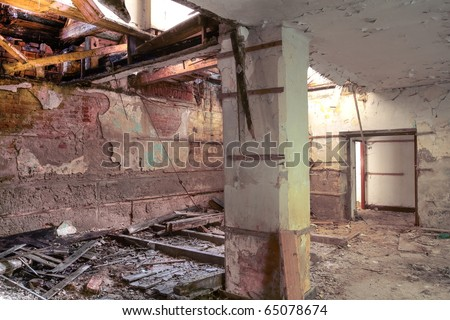 destroyed room - stock photo