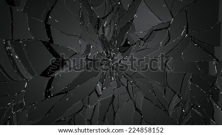 Destructed and broken glass on black. Large resolution - stock photo