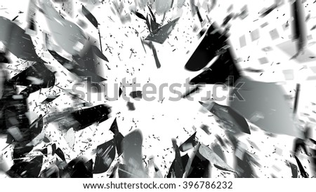 Destructed and broken glass with motion blur on white. Large resolution - stock photo