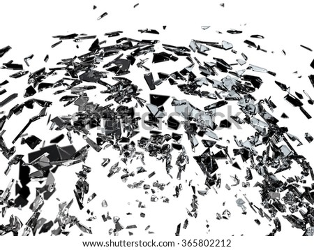 Destructed or broken glass on white isolated high resolution - stock photo
