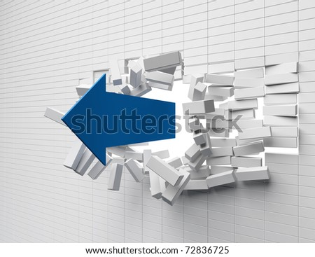 Destruction of a brick wall arrow - stock photo