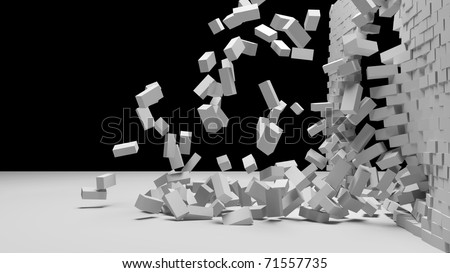 Destruction of a white brick wall - stock photo