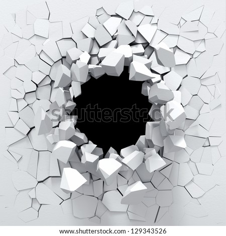 Destruction of a white wall - stock photo
