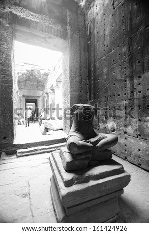 Destruction of the Buddha at Angkor, Siem reap, Cambodia - stock photo