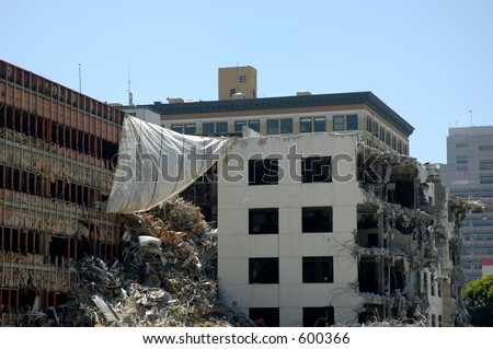 Destruction on building. - stock photo