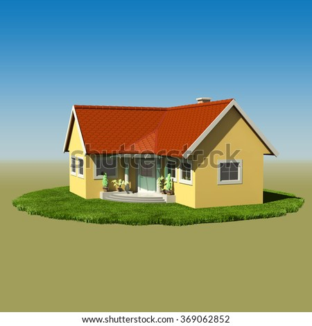 Detached family house with red tiled roof and green grass base