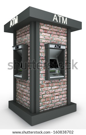 Detached street  totem with automated teller machine. Isolated on white background - stock photo