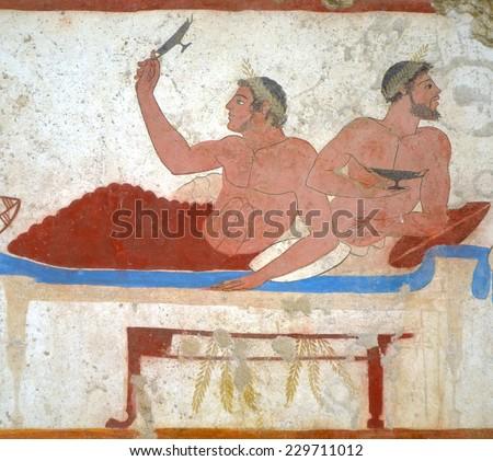 Detail ancient Greek Fresco in Paestum, Italy - stock photo