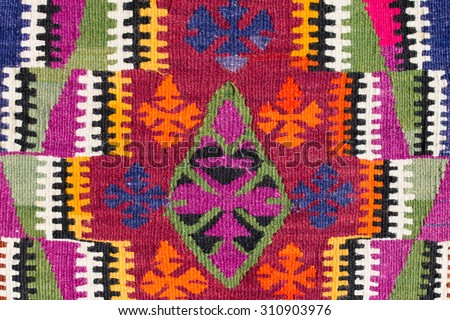 Detail asian carpet in Istanbul, Turkey. Close up - stock photo