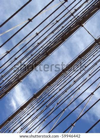 Detail Brooklyn Bridge New York City - stock photo