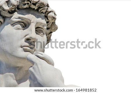 Detail close-up of Michelangelo's David statue isolated on white background, with place for your design or text - stock photo