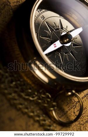 Detail closeup compass - stock photo