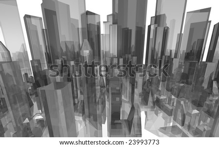 detail cyber city - stock photo