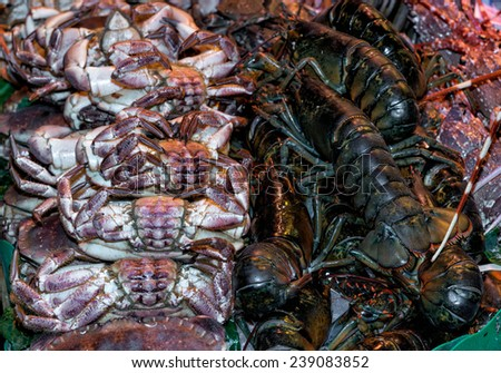 Detail Fish and seafood prepared for sale - stock photo
