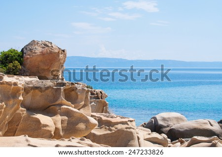 Detail from beautiful Karidi beach on the east coast of Sithonia, Greece - stock photo