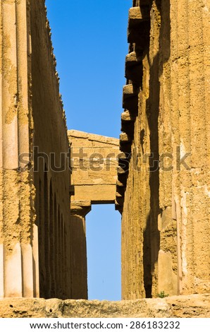 Detail from Temple of Concordia at Agrigento Valley of the Temple, Sicily, Italy - stock photo