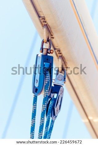 detail from the boom of a sailing boat during a regatta in Saronic gulf near Athens Greece. - stock photo