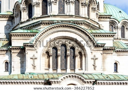 Detail from the facade of St. Alexander Nevsky Cathedral, Sofia, Bulgaria - stock photo