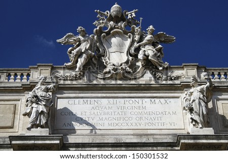 Detail from the most famous fountain of the world, Fontana di Trevi, Rome, Italy.