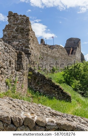 Detail from the Szigliget castle in Hungary,13 may 2016 village Szigliget in Hungary